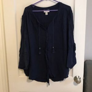 Ava & Viv navy button down with tassels